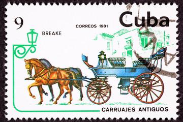 Cuban Postage Stamp Horse Team Pulling Break, Brake Carriage