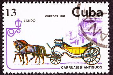 Postage Stamp Horse Team Pulling Convertible Landau Carriage