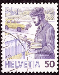 Swiss Postage Stamp Postman Delivering Letters Mail Box