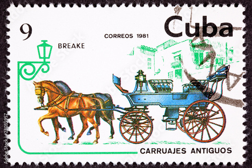 Cuban Postage Stamp Horse Team Pulling Break, Brake Carriage