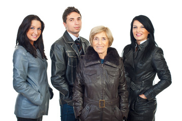 Group of people in leather coats