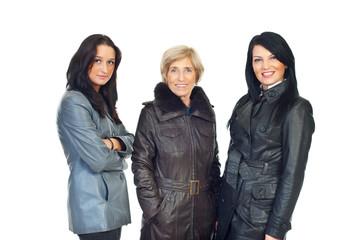 Women models in leather jackets
