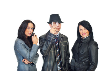 Detective man and women assistants