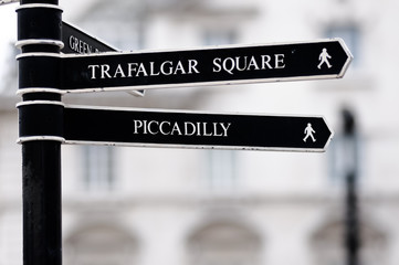London Street Signpost with Trafalgar Square and Piccadilly