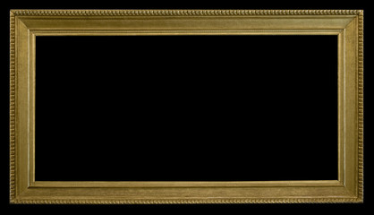 cornice oro antica rettangolare su fondo nero