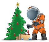 astronaut decorating the Christmas tree