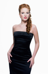 Beautiful  sensual woman in black dress