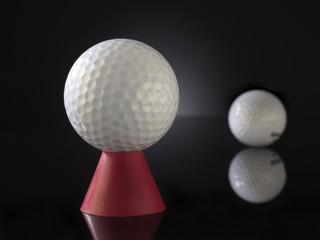 Golfball auf Abschlaghilfe
