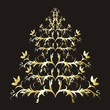 Christmas or New Year gold  tree on black