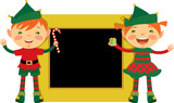 Christmas frame with elves poster