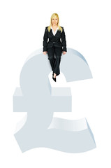 Business woman sitting on pound symbol