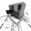 Modern building on blueprints
