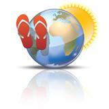 Symbole tourisme vacances tongs et  soleil poster