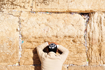 Man Praying at Western Wall