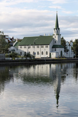 Reykjavik - church reflection in Iceland