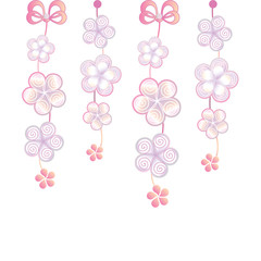 White background with decorative flowers and bows