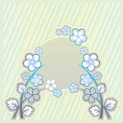 Light green background with flower ornament and a place for the