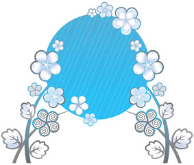 White background with decorative flowers