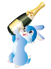 Hare with a bottle of champagne