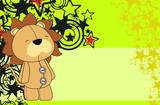 lion plush cartoon background poster