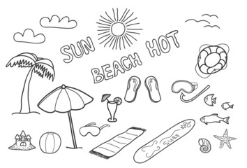 Beach doodles. Vector illustration.