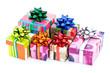 Assortiment de paquets cadeaux sur fond blanc