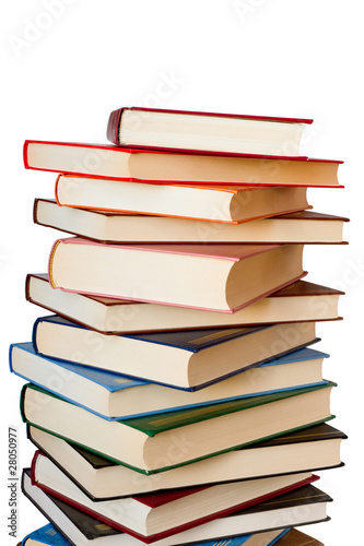 Colored books isolated on the white background