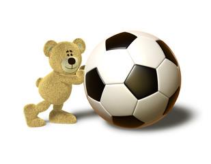 Nhi Bear pushes a big Soccer Ball