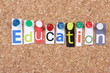 Education spelled out in Magazine Letters