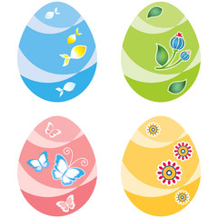Easter eggs, four variants of color