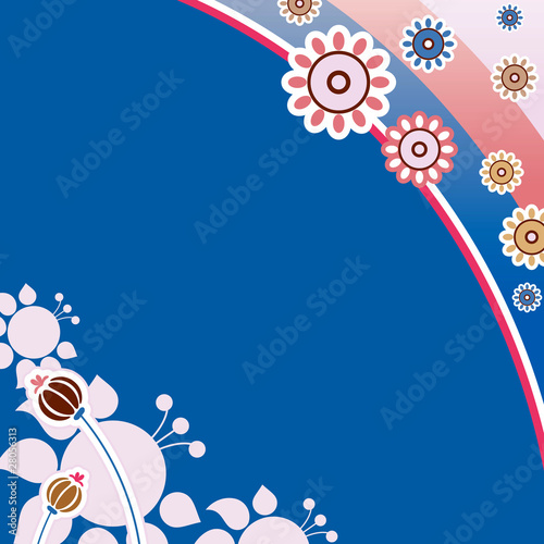 Background. Flower ornament, pink on a blue background