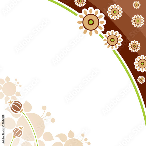Background. Flower ornament, brown on a white background