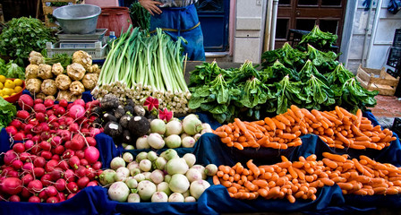 Fresh Organic Vegetables At A Street Market In Istanbul, Turkey.