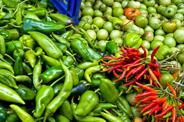 Organic Fresh Ripe Peppers and Tomatoes At A Street Market In Is