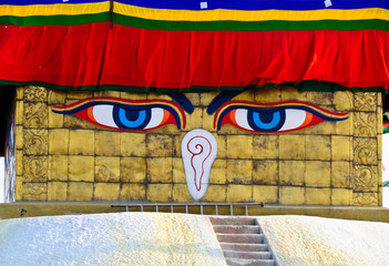 Eyes of the Buddha on the great stupa at Swayambhunath buddhist
