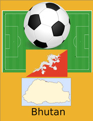 Bhutan soccer football sport world flag map