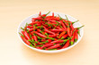 Hot peppers in the plate on wooden table