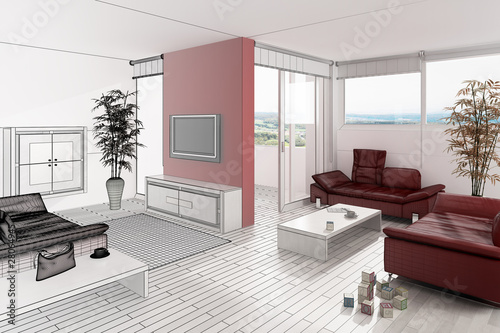 Red Wall in a White Loft (3d)