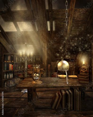 Pokój na poddaszu z magicznymi przedmiotami