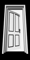 High resolution conceptual 3D opened door