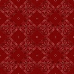 Christmas snowflake - seamless knitted background