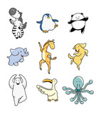 Fototapety cartoon animal dance