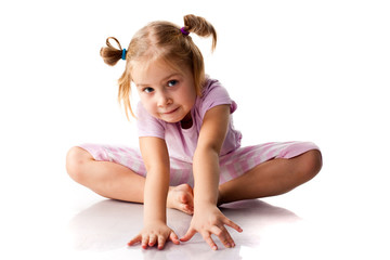 Beautiful girl exercising, butterfly pose
