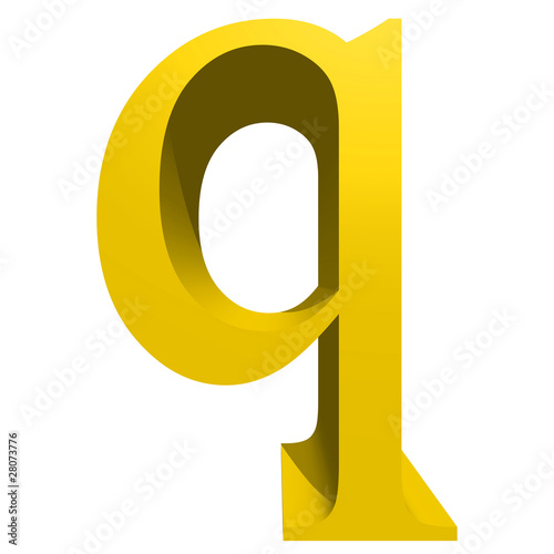 High resolution 3D yellow font isolated on white background