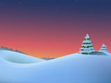 Vector winter christmas landscape with fir-trees and red dawn