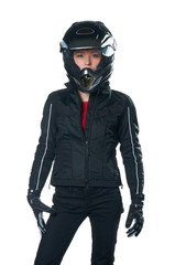 Young beauty woman in motorcycle clothing and helmet