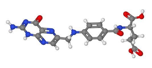 Ball and stick model of folic acid molecule