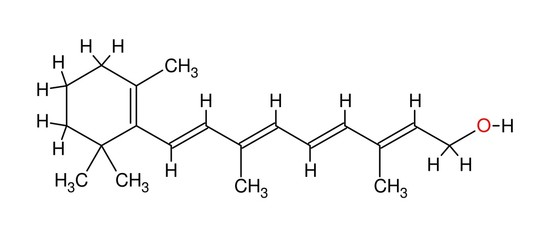 Structural formula of retinol