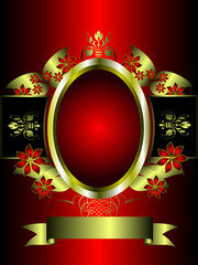 A red and gold floral background