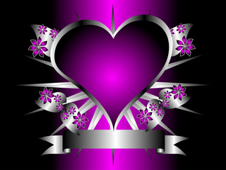 A gothic silver and purple floral hearts design